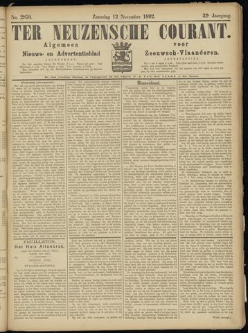 Ter Neuzensche Courant. Algemeen Nieuws- en Advertentieblad voor Zeeuwsch-Vlaanderen / Neuzensche Courant ... (idem) / (Algemeen) nieuws en advertentieblad voor Zeeuwsch-Vlaanderen 1892-11-12