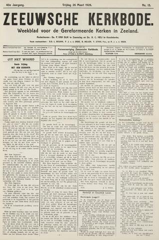 Zeeuwsche kerkbode, weekblad gewijd aan de belangen der gereformeerde kerken/ Zeeuwsch kerkblad 1926-03-26