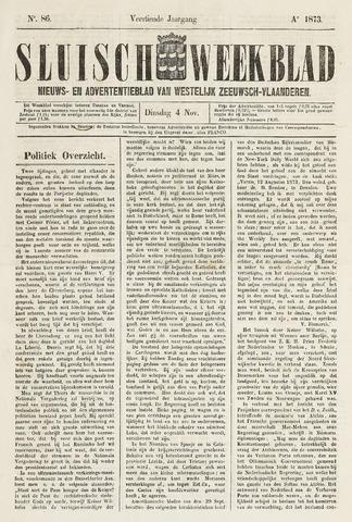 Sluisch Weekblad. Nieuws- en advertentieblad voor Westelijk Zeeuwsch-Vlaanderen 1873-11-04