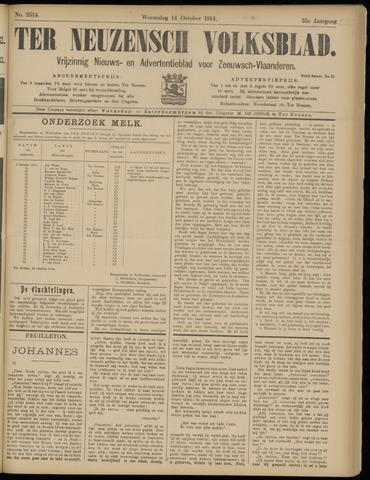 Ter Neuzensch Volksblad. Vrijzinnig nieuws- en advertentieblad voor Zeeuwsch- Vlaanderen / Zeeuwsch Nieuwsblad. Nieuws- en advertentieblad voor Zeeland 1914-10-14