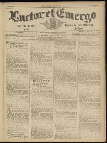Luctor et Emergo. Antirevolutionair nieuws- en advertentieblad voor Zeeland / Zeeuwsch-Vlaanderen. Orgaan ter verspreiding van de christelijke beginselen in Zeeuwsch-Vlaanderen 1913-06-21