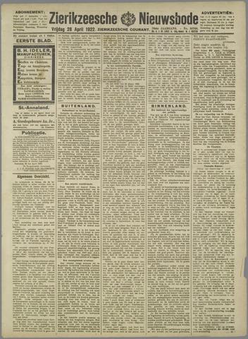 Zierikzeesche Nieuwsbode 1922-04-28