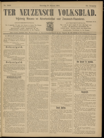 Ter Neuzensch Volksblad. Vrijzinnig nieuws- en advertentieblad voor Zeeuwsch- Vlaanderen / Zeeuwsch Nieuwsblad. Nieuws- en advertentieblad voor Zeeland 1914-01-31