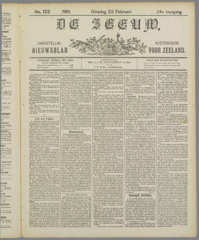 De Zeeuw. Christelijk-historisch nieuwsblad voor Zeeland 1910-02-22