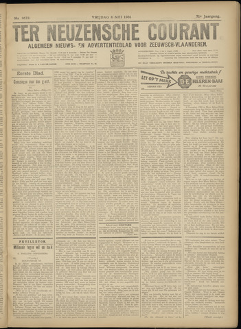 Ter Neuzensche Courant. Algemeen Nieuws- en Advertentieblad voor Zeeuwsch-Vlaanderen / Neuzensche Courant ... (idem) / (Algemeen) nieuws en advertentieblad voor Zeeuwsch-Vlaanderen 1931-05-08
