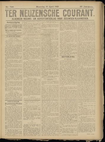 Ter Neuzensche Courant. Algemeen Nieuws- en Advertentieblad voor Zeeuwsch-Vlaanderen / Neuzensche Courant ... (idem) / (Algemeen) nieuws en advertentieblad voor Zeeuwsch-Vlaanderen 1923-04-30