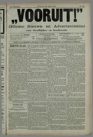 """""""Vooruit!""""Officieel Nieuws- en Advertentieblad voor Overflakkee en Goedereede 1915-04-28"""