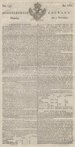 Middelburgsche Courant 1762-11-09