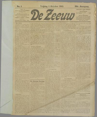 De Zeeuw. Christelijk-historisch nieuwsblad voor Zeeland 1915-10-01