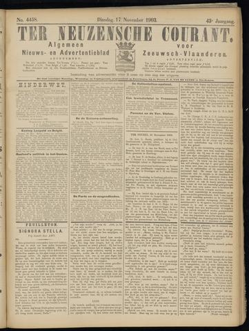 Ter Neuzensche Courant. Algemeen Nieuws- en Advertentieblad voor Zeeuwsch-Vlaanderen / Neuzensche Courant ... (idem) / (Algemeen) nieuws en advertentieblad voor Zeeuwsch-Vlaanderen 1903-11-17