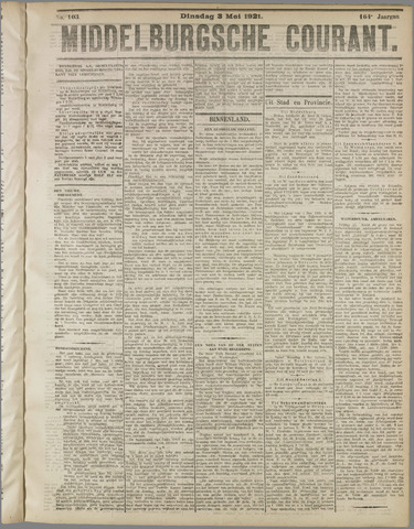 Middelburgsche Courant 1921-05-03
