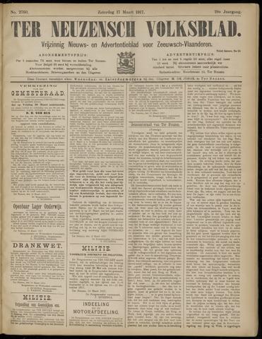 Ter Neuzensch Volksblad. Vrijzinnig nieuws- en advertentieblad voor Zeeuwsch- Vlaanderen / Zeeuwsch Nieuwsblad. Nieuws- en advertentieblad voor Zeeland 1917-03-17