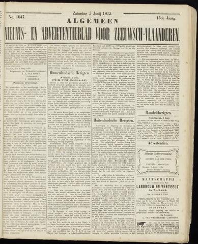 Ter Neuzensche Courant. Algemeen Nieuws- en Advertentieblad voor Zeeuwsch-Vlaanderen / Neuzensche Courant ... (idem) / (Algemeen) nieuws en advertentieblad voor Zeeuwsch-Vlaanderen 1875-06-05