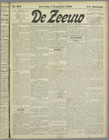 De Zeeuw. Christelijk-historisch nieuwsblad voor Zeeland 1920-09-04