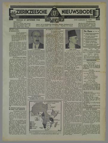 Zierikzeesche Nieuwsbode 1940-09-27