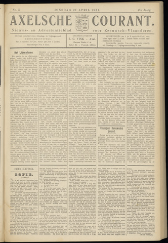 Axelsche Courant 1931-04-21