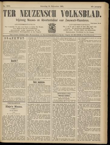 Ter Neuzensch Volksblad. Vrijzinnig nieuws- en advertentieblad voor Zeeuwsch- Vlaanderen / Zeeuwsch Nieuwsblad. Nieuws- en advertentieblad voor Zeeland 1911-11-18