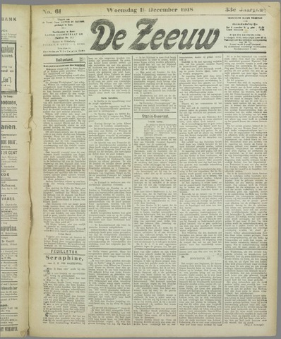 De Zeeuw. Christelijk-historisch nieuwsblad voor Zeeland 1918-12-11