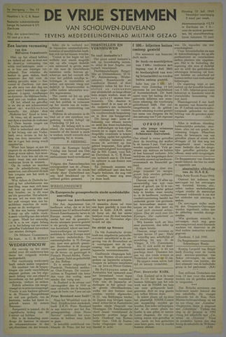Vrije Stemmen van Schouwen-Duiveland, tevens mededeelingenblad Militair Gezag 1945-07-10