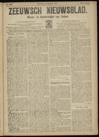 Ter Neuzensch Volksblad. Vrijzinnig nieuws- en advertentieblad voor Zeeuwsch- Vlaanderen / Zeeuwsch Nieuwsblad. Nieuws- en advertentieblad voor Zeeland 1918-08-03