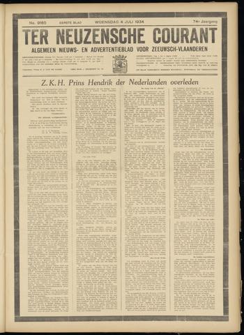 Ter Neuzensche Courant. Algemeen Nieuws- en Advertentieblad voor Zeeuwsch-Vlaanderen / Neuzensche Courant ... (idem) / (Algemeen) nieuws en advertentieblad voor Zeeuwsch-Vlaanderen 1934-07-04