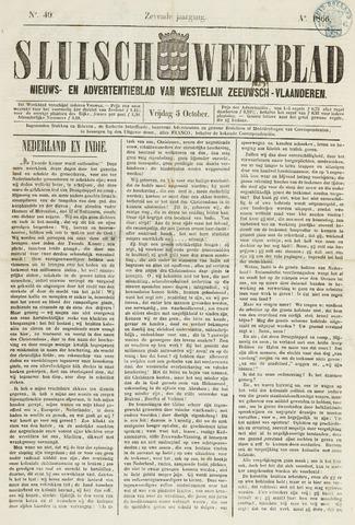 Sluisch Weekblad. Nieuws- en advertentieblad voor Westelijk Zeeuwsch-Vlaanderen 1866-10-05