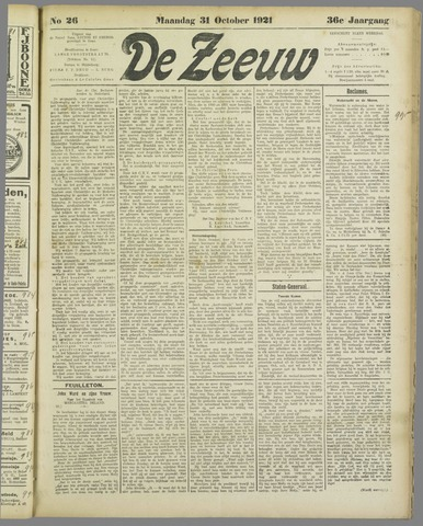 De Zeeuw. Christelijk-historisch nieuwsblad voor Zeeland 1921-10-31
