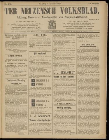 Ter Neuzensch Volksblad. Vrijzinnig nieuws- en advertentieblad voor Zeeuwsch- Vlaanderen / Zeeuwsch Nieuwsblad. Nieuws- en advertentieblad voor Zeeland 1916-12-09