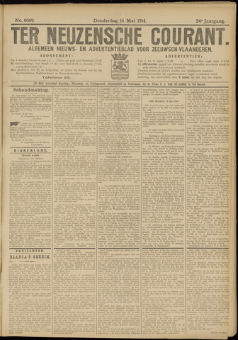 Ter Neuzensche Courant. Algemeen Nieuws- en Advertentieblad voor Zeeuwsch-Vlaanderen / Neuzensche Courant ... (idem) / (Algemeen) nieuws en advertentieblad voor Zeeuwsch-Vlaanderen 1914-05-14