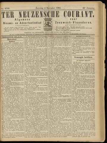 Ter Neuzensche Courant. Algemeen Nieuws- en Advertentieblad voor Zeeuwsch-Vlaanderen / Neuzensche Courant ... (idem) / (Algemeen) nieuws en advertentieblad voor Zeeuwsch-Vlaanderen 1905-11-04