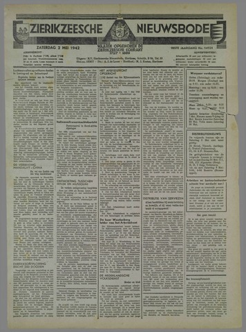 Zierikzeesche Nieuwsbode 1942-05-02