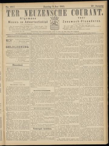Ter Neuzensche Courant. Algemeen Nieuws- en Advertentieblad voor Zeeuwsch-Vlaanderen / Neuzensche Courant ... (idem) / (Algemeen) nieuws en advertentieblad voor Zeeuwsch-Vlaanderen 1911-06-03