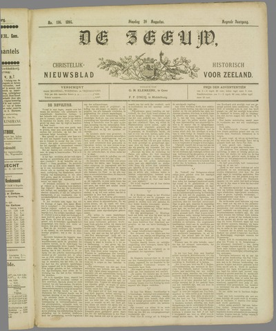 De Zeeuw. Christelijk-historisch nieuwsblad voor Zeeland 1895-08-20