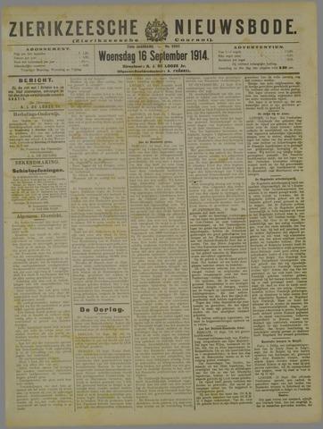 Zierikzeesche Nieuwsbode 1914-09-16