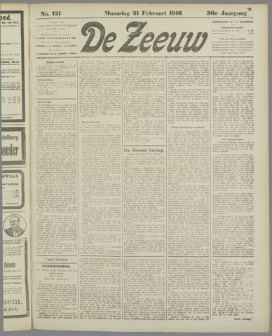 De Zeeuw. Christelijk-historisch nieuwsblad voor Zeeland 1916-02-21