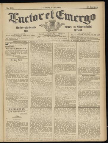 Luctor et Emergo. Antirevolutionair nieuws- en advertentieblad voor Zeeland / Zeeuwsch-Vlaanderen. Orgaan ter verspreiding van de christelijke beginselen in Zeeuwsch-Vlaanderen 1914-07-18