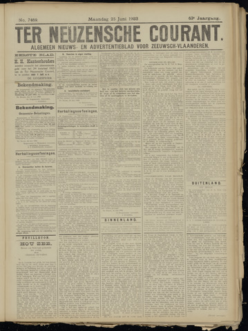 Ter Neuzensche Courant. Algemeen Nieuws- en Advertentieblad voor Zeeuwsch-Vlaanderen / Neuzensche Courant ... (idem) / (Algemeen) nieuws en advertentieblad voor Zeeuwsch-Vlaanderen 1923-06-25