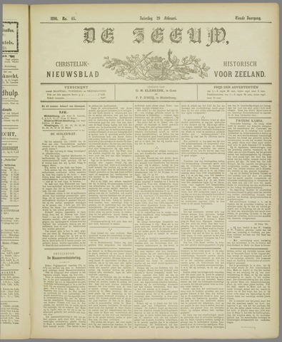 De Zeeuw. Christelijk-historisch nieuwsblad voor Zeeland 1896-02-29