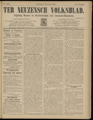 Ter Neuzensch Volksblad. Vrijzinnig nieuws- en advertentieblad voor Zeeuwsch- Vlaanderen / Zeeuwsch Nieuwsblad. Nieuws- en advertentieblad voor Zeeland 1914-11-14