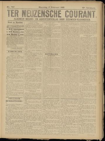 Ter Neuzensche Courant. Algemeen Nieuws- en Advertentieblad voor Zeeuwsch-Vlaanderen / Neuzensche Courant ... (idem) / (Algemeen) nieuws en advertentieblad voor Zeeuwsch-Vlaanderen 1923-02-19