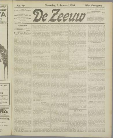 De Zeeuw. Christelijk-historisch nieuwsblad voor Zeeland 1916-01-03