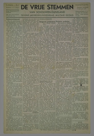Vrije Stemmen van Schouwen-Duiveland, tevens mededeelingenblad Militair Gezag 1945-06-21