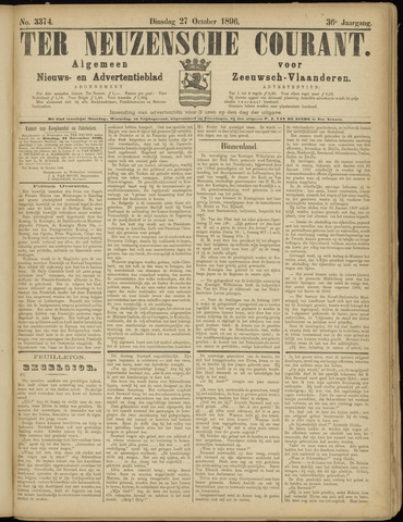 Ter Neuzensche Courant. Algemeen Nieuws- en Advertentieblad voor Zeeuwsch-Vlaanderen / Neuzensche Courant ... (idem) / (Algemeen) nieuws en advertentieblad voor Zeeuwsch-Vlaanderen 1896-10-27