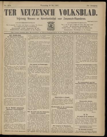 Ter Neuzensch Volksblad. Vrijzinnig nieuws- en advertentieblad voor Zeeuwsch- Vlaanderen / Zeeuwsch Nieuwsblad. Nieuws- en advertentieblad voor Zeeland 1917-05-16