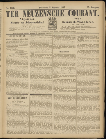 Ter Neuzensche Courant. Algemeen Nieuws- en Advertentieblad voor Zeeuwsch-Vlaanderen / Neuzensche Courant ... (idem) / (Algemeen) nieuws en advertentieblad voor Zeeuwsch-Vlaanderen 1897-08-05