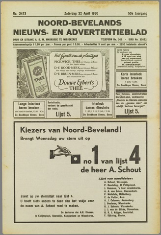 Noord-Bevelands Nieuws- en advertentieblad 1950-04-22