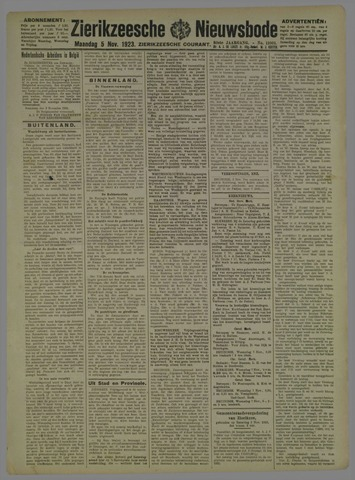 Zierikzeesche Nieuwsbode 1923-11-05