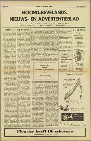 Noord-Bevelands Nieuws- en advertentieblad 1960-10-22