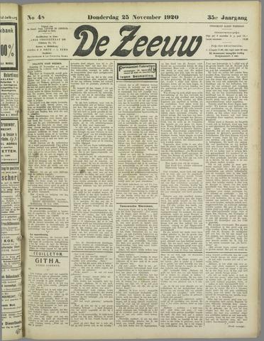 De Zeeuw. Christelijk-historisch nieuwsblad voor Zeeland 1920-11-25