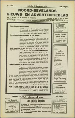 Noord-Bevelands Nieuws- en advertentieblad 1951-09-29